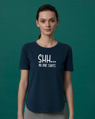 Shop No One Cares Basic Round Hem T-Shirt-Front