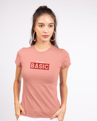 Shop Not At All Basic Half Sleeve Printed T-Shirt Misty Pink-Front