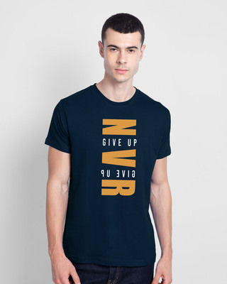 Shop Not Giving Up Half Sleeve T-Shirt Navy Blue-Front
