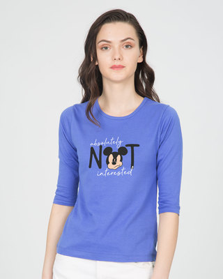 Shop Not Interested Round Neck 3/4th Sleeve T-Shirt (DL)-Front