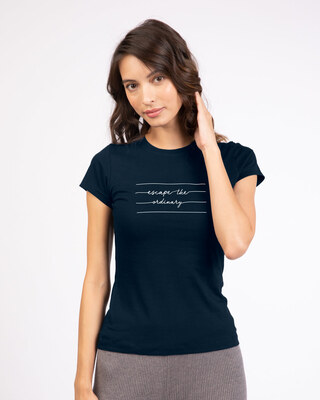 Shop Not Ordinary Half Sleeve T-Shirt Navy Blue-Front