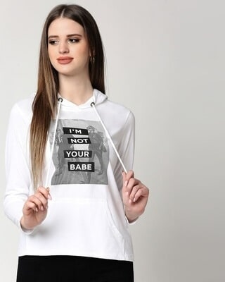 Shop Not Your Babe Full Sleeve Hoodie T-Shirt-Front