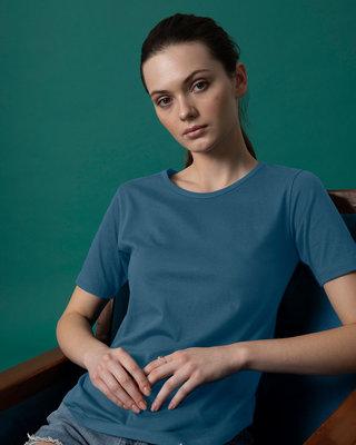 Shop Ocean Blue Basic Round Hem T-Shirt-Front