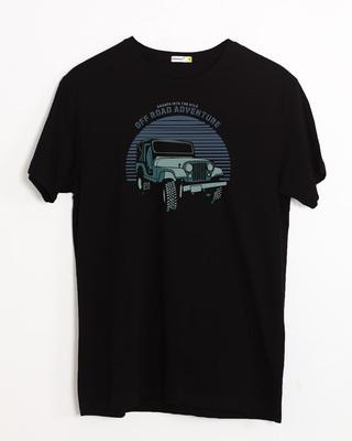 Shop Off Road Jeep Half Sleeve T-Shirt Black-Front