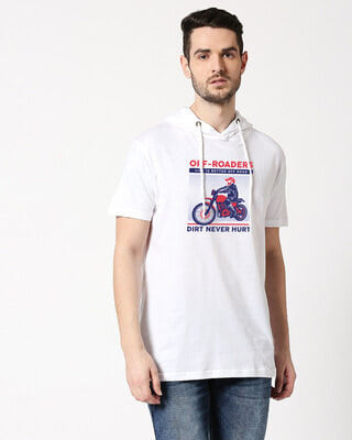 Shop Off Roaders Half Sleeve Hoodie T-shirt White-Front