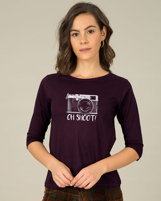 Shop Oh Shoot Round Neck 3/4th Sleeve T-Shirt-Front