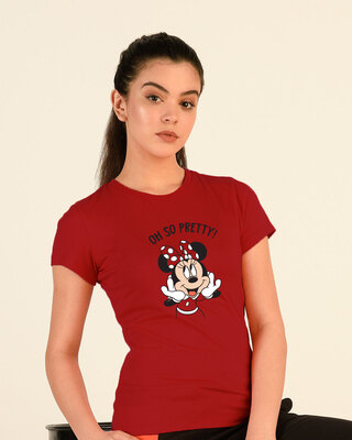 Shop Oh So Pretty Half Sleeve T-Shirt (DL) Bold Red-Front