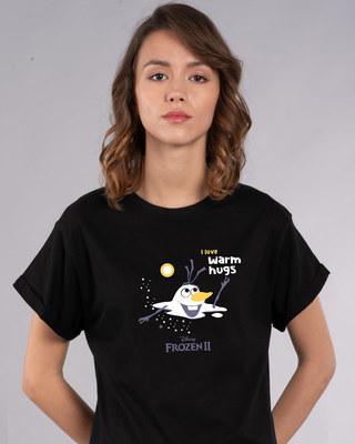 Shop Olaf-i Love Warm Hugs Boyfriend T-Shirt (FROZEN)-Front