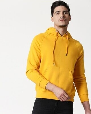 Shop Old Gold Basic Hoodie Sweatshirt-Front