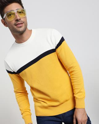 Shop Old Gold Color Block Flat Knit Sweater-Front