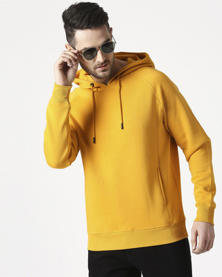 Shop Old Gold Stylised Panel Hoodie SweatShirt-Front