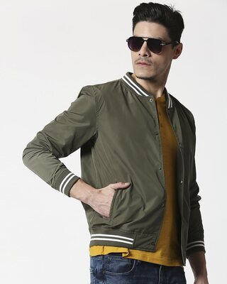Shop Olive Anti Varsity Bomber Jacket-Front
