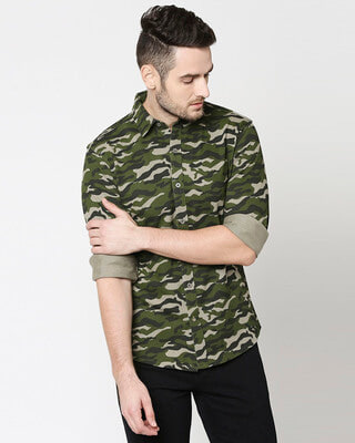 Shop Olive Camo Full Sleeve Camo Shirt-Front
