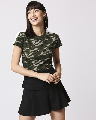 Shop Olive Camo Plain Shoulder Sleeves Panel Half Sleeves Camo T-Shirt-Front