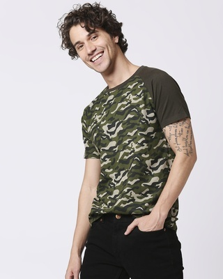 Shop Olive Camo Sleeve Raglan Camo T-Shirt-Front