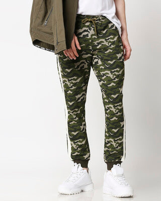 Shop Olive Camo White Stripe Casual Jogger-Front