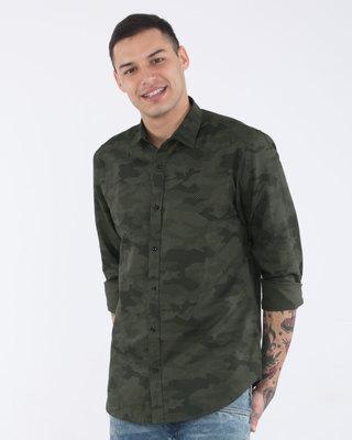 Olive Camouflage Cotton Linen Slim Fit Shirt