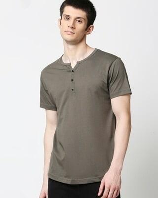 Shop Olive Night Half Sleeve Henley T-Shirt-Front