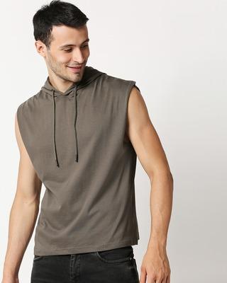 Shop Olive Night Round Neck Hoodie Vest-Front
