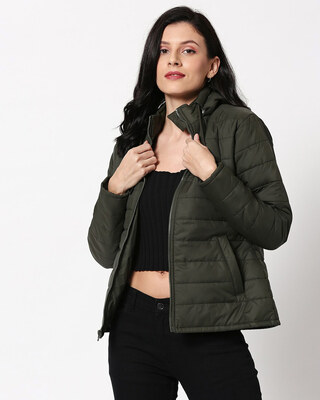 Shop Olive Plain Puffer Jacket with Detachable Hood-Front