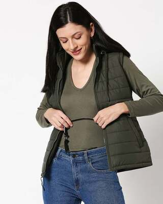 Shop Olive Plain Sleeveless Puffer Jacket With Detachable Hood-Front