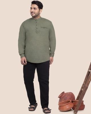 Shop Olive Plus Size Solid Mandarin Collar Shirt-DAVE-Front