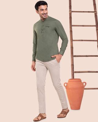 Shop Men's Solid Mandarin Collar Full Sleeves Shirt-Front