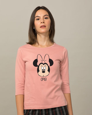 Shop Omg Minnie Round Neck 3/4th Sleeve T-Shirt (DL)-Front