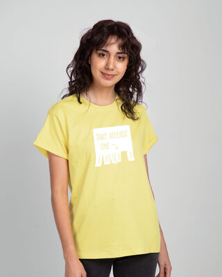 Shop One Chance Boyfriend T-Shirts Pastel Yellow-Front