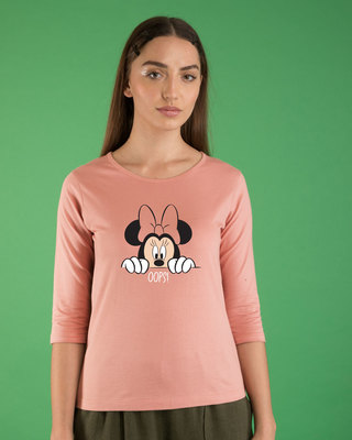 Shop Oops Minne Round Neck 3/4th Sleeve T-Shirt (DL)-Front