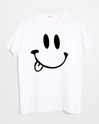 Shop Oops Smiley Half Sleeve T-Shirt-Front