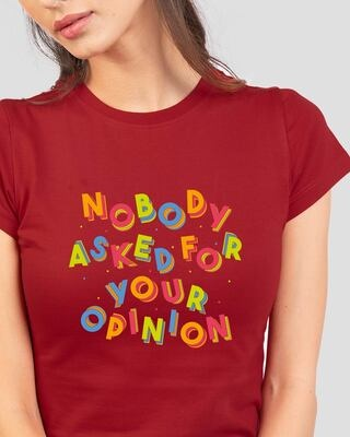 Shop Opinion Pop Half Sleeve Printed T-Shirt Bold Red-Front