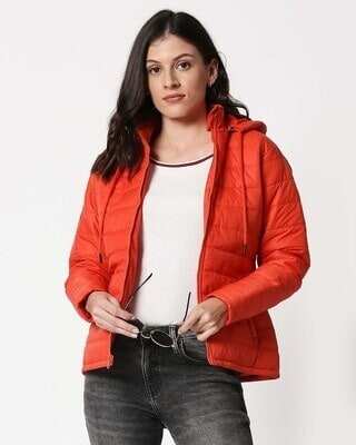 Shop Orange Plain Puffer Jacket with Detachable Hood-Front