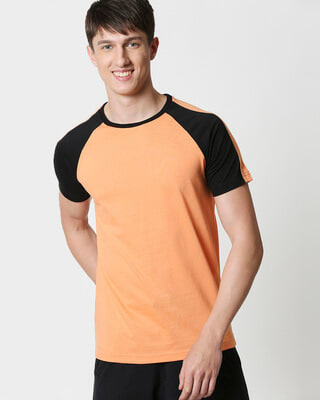 Shop Orange Rush Shoulder Sleeve Raglan T-Shirt-Front