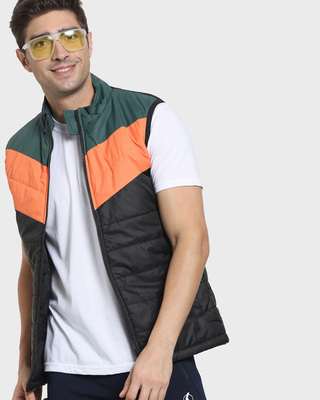 Shop Orange Sleeveless Color Block Puffer Jacket AW 21-Front