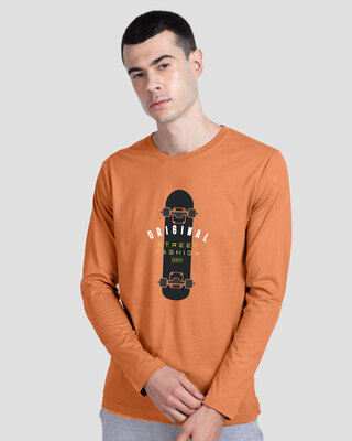Shop Original Street Fashion Full Sleeve T-Shirt Vintage Orange-Front
