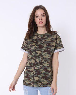 Shop Outdoor Green Camouflage Boyfriend T-Shirt-Front