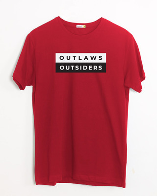 Shop Outlaws & Outsiders Half Sleeve T-Shirt Bold Red-Front
