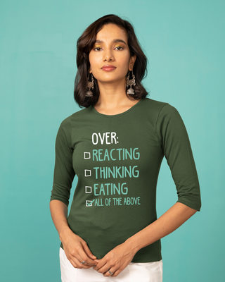 Shop Over Everything Round Neck 3/4th Sleeve T-Shirt-Front