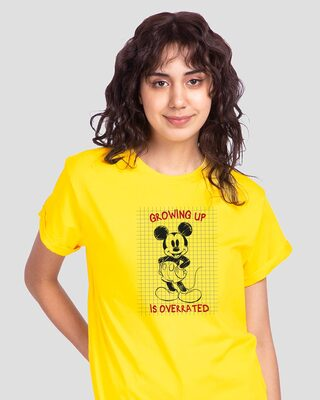Shop Overrated Boyfriend T-Shirt (DL) Pineapple Yellow-Front