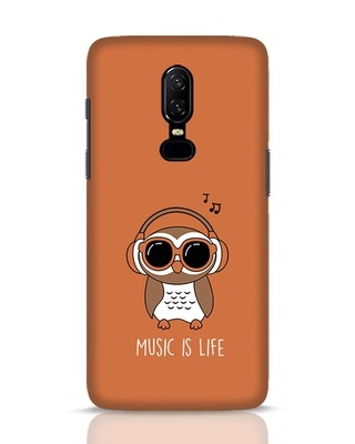 Shop Owl Headphones OnePlus 6 Mobile Cover-Front