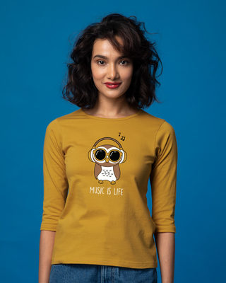 Shop Owl Headphones Round Neck 3/4th Sleeve T-Shirt-Front