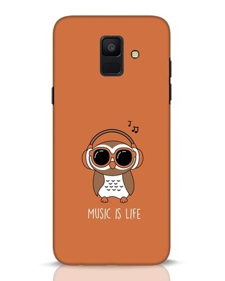 Shop Owl Headphones Samsung Galaxy A6 2018 Mobile Cover-Front