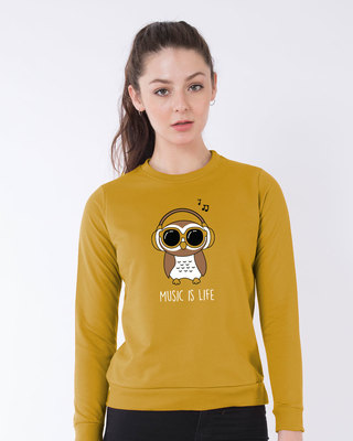 Shop Owl Headphones Sweatshirt-Front