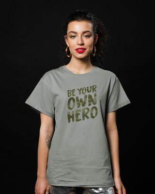 Shop Own Hero Camouflage Boyfriend T-Shirt-Front