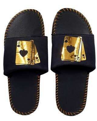 Shop Pampy Angel AAA Gold Slipper FlipFlops Slides for Men-Front