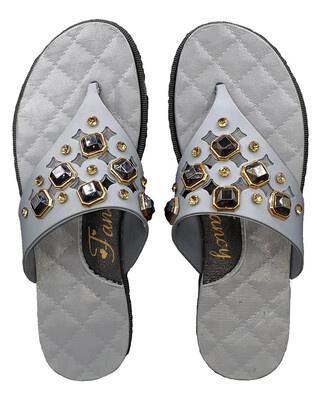 Shop Pampy Angel V Stone Grey Slipper Slides Flipflops for Women-Front