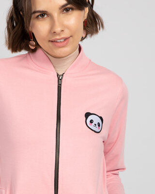 Shop Panda Badge Zipper Bomber Jacket-Front