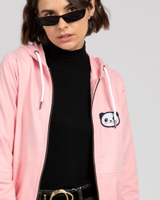 Shop Panda Badge Zipper Hoodie-Front