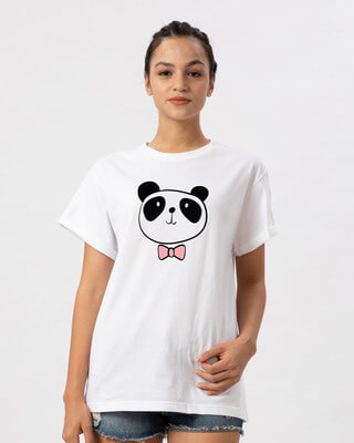 Shop Panda Bow Boyfriend T-Shirt-Front